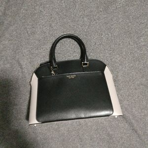kate Spade louise medium dome satchel taupe black